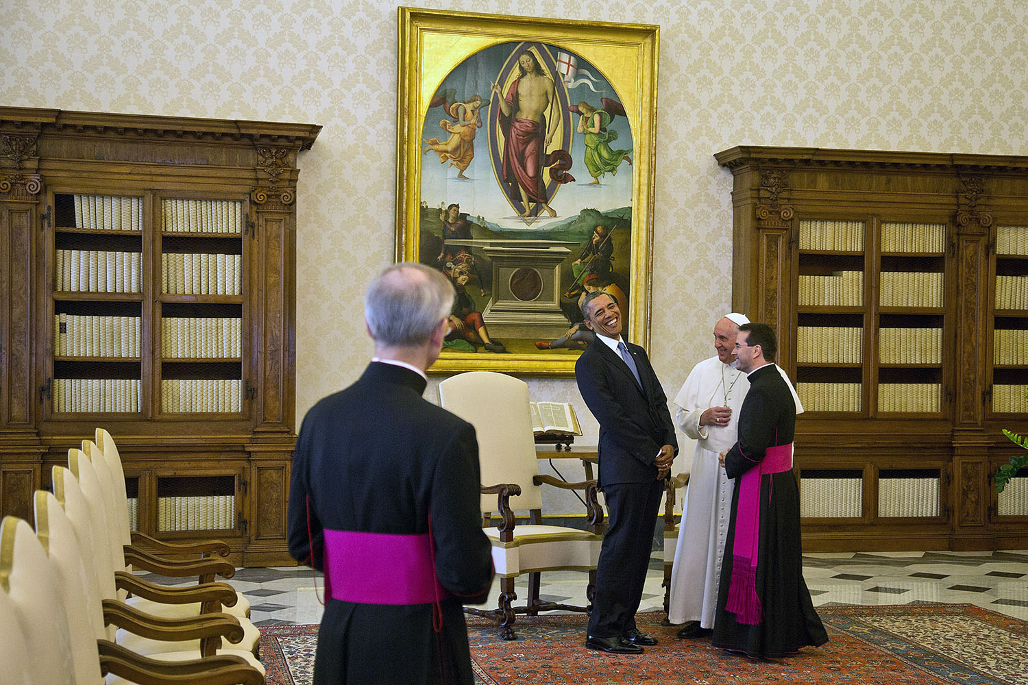 Mar. 27, 2014. President Barack Obama jokes with Pope Francis in the  Apostolic Palace, Private Library at the Vatican, Rome, Italy.