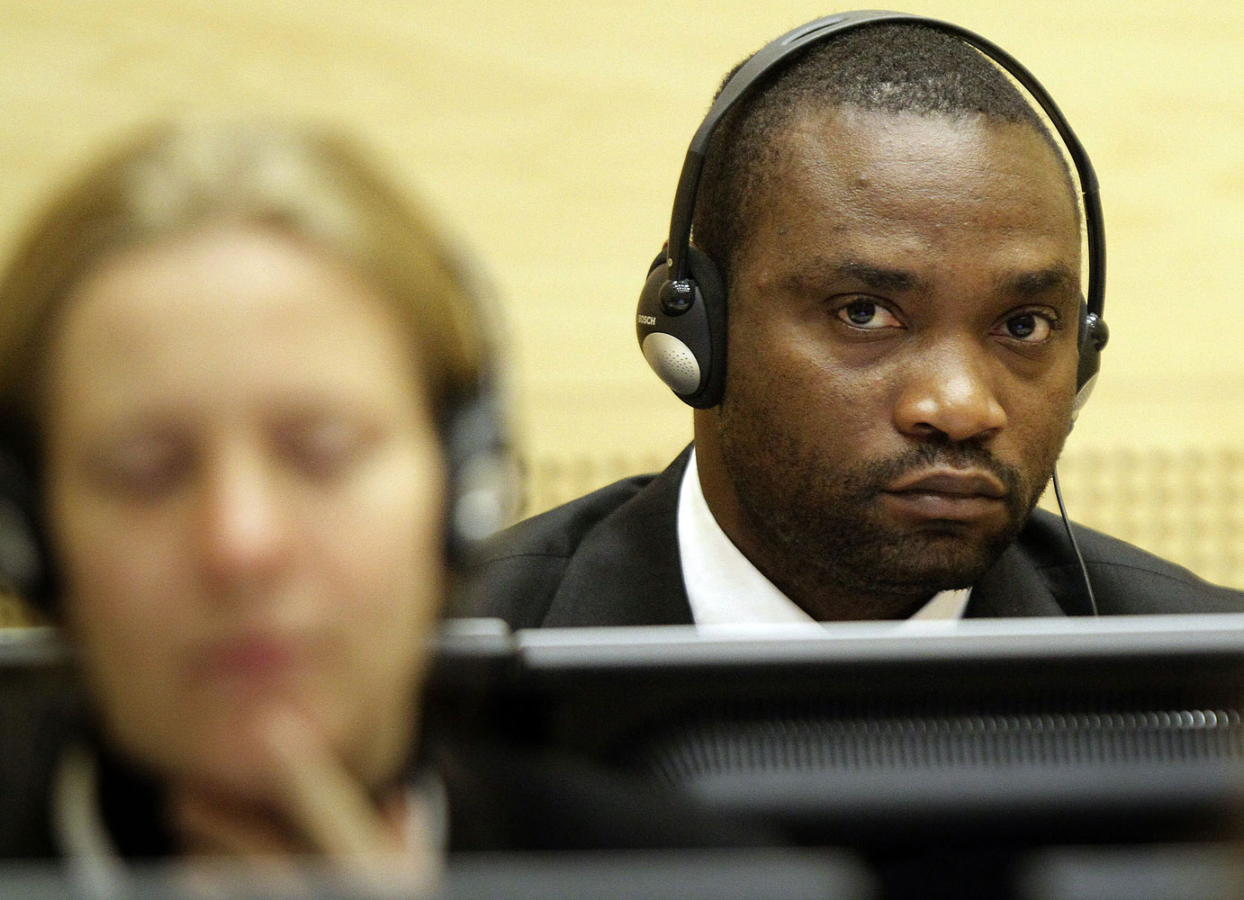 Former Congolese warlord militiaman Germain Katanga sitting in the courtroom of the International Criminal Court in The Hague in 2009.
