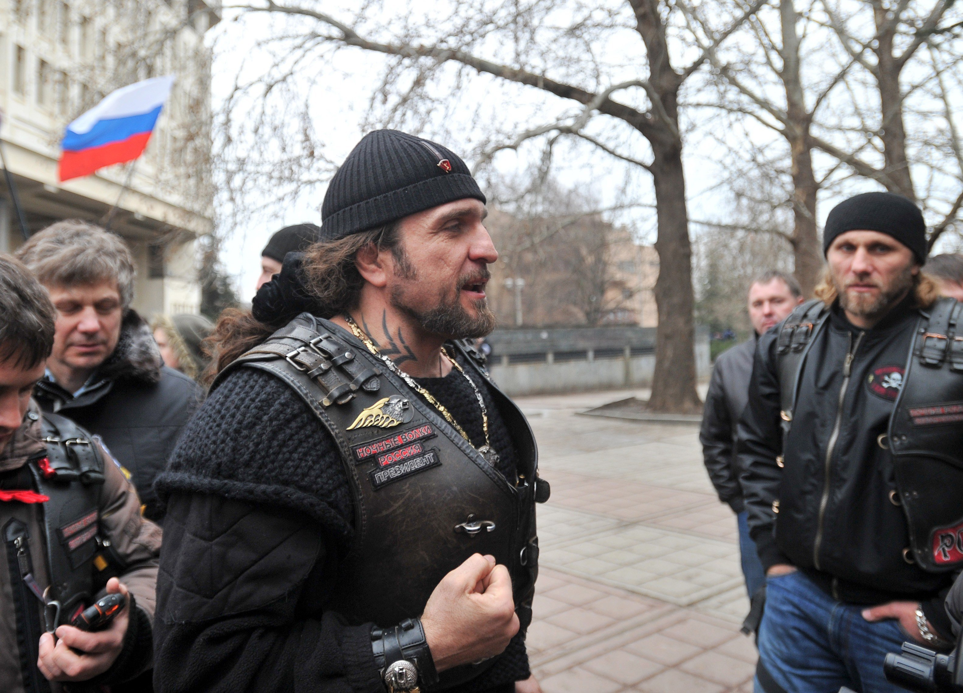 Alexander Zaldostanov attends a rally of pro-Russian activists waving the Russian flag, in front of the local parliament building on February 28, 2014 in Simferopol, Crimea, Ukraine.