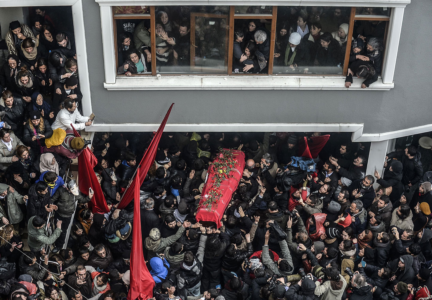 The coffin of Berkin Elvan is carried  on March 11, 2014, in Istanbul. Berkin Elvan, who has been in a coma since June 2013 after being struck in the head by a gas canister during a police crackdown on protesters, died earlier on the day.