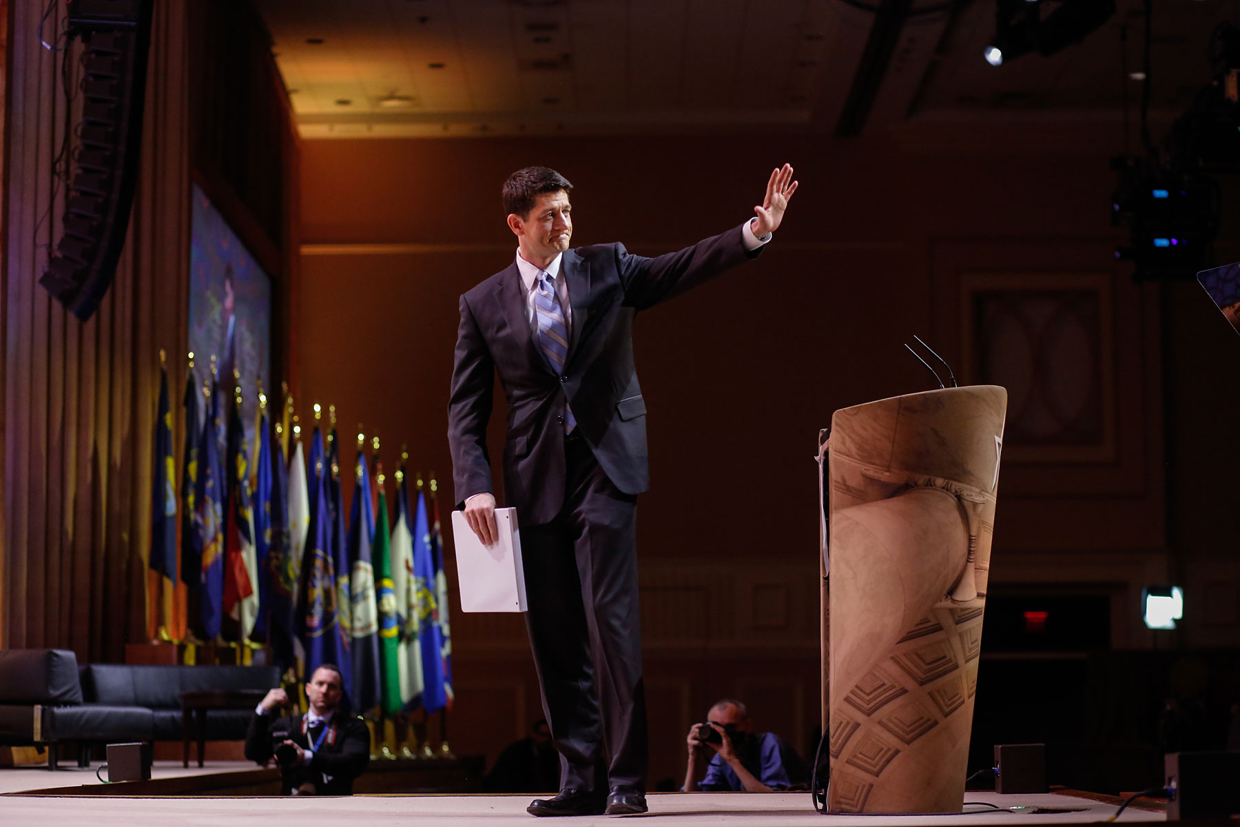 Congressman Paul Ryan, of Wisconsin, waves to the crowd after speaking during the Conservative Political Action Conference at the Gaylord National Resort & Convention Center in National Harbor, Md., March 6, 2014.