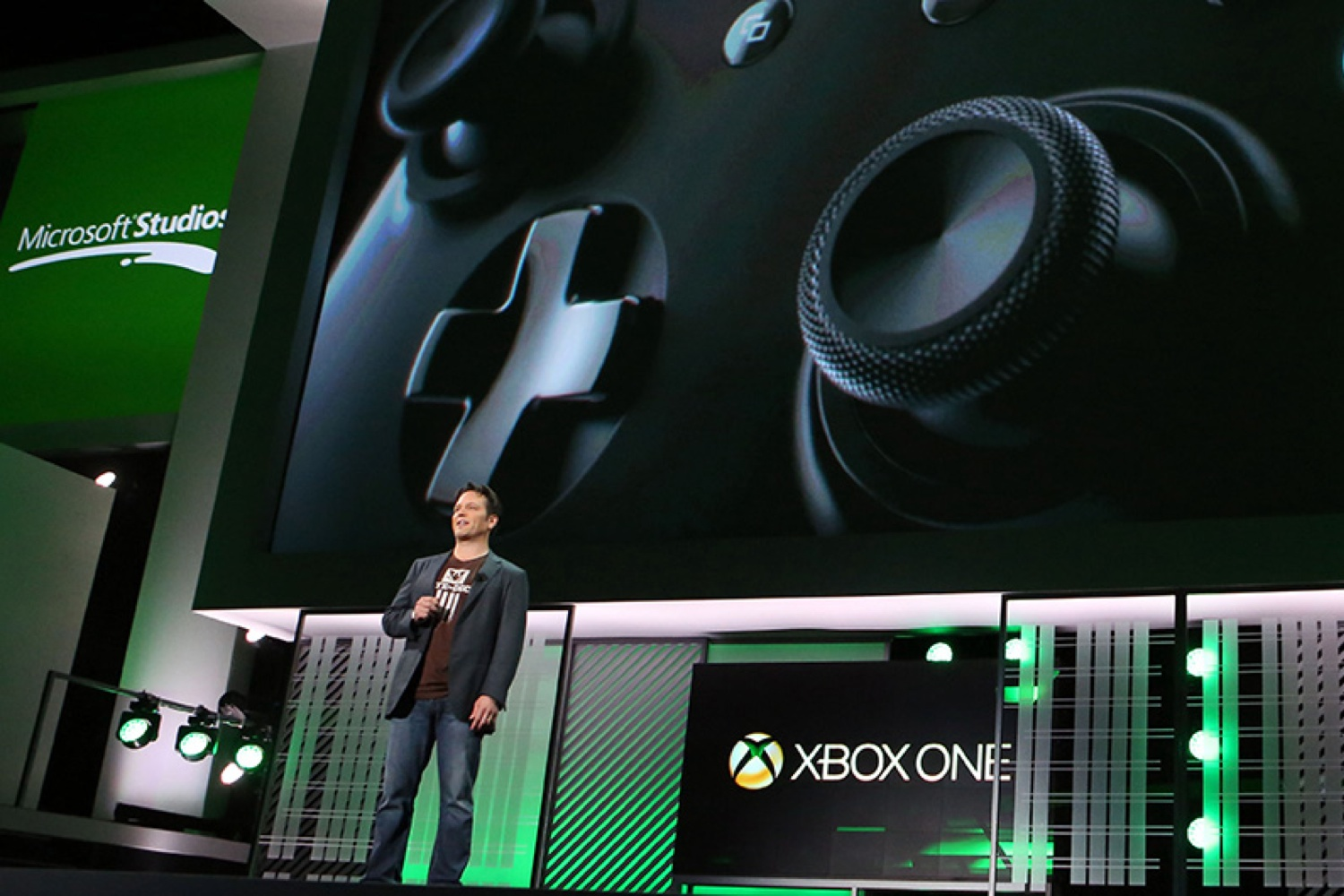 Phil Spencer on stage at the Xbox E3 2013 media briefing.