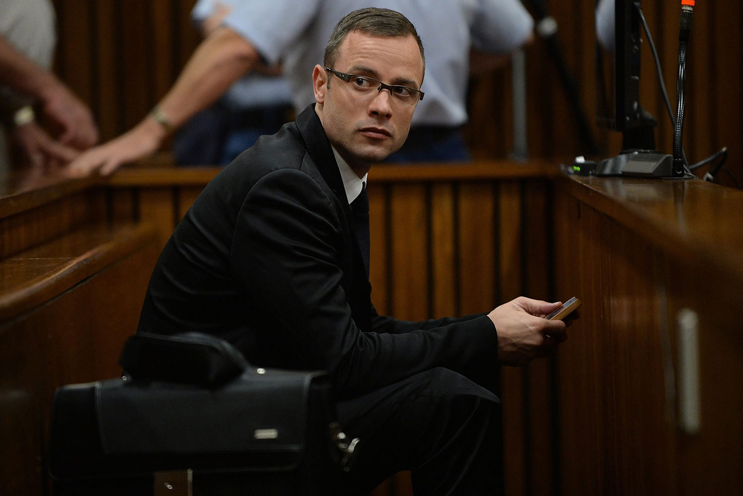 South African Paralympic athlete Oscar Pistorius is seen during his ongoing murder trial at the high court in Pretoria, South Africa, March 14, 2014.