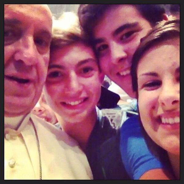 The first ever  Papal selfie  was made this year when 500 teenagers traveled from Diocese of Piacenza and Bobbio outside of Milan to the Vatican. Pope Francis invited the teens as  bearers of hope.