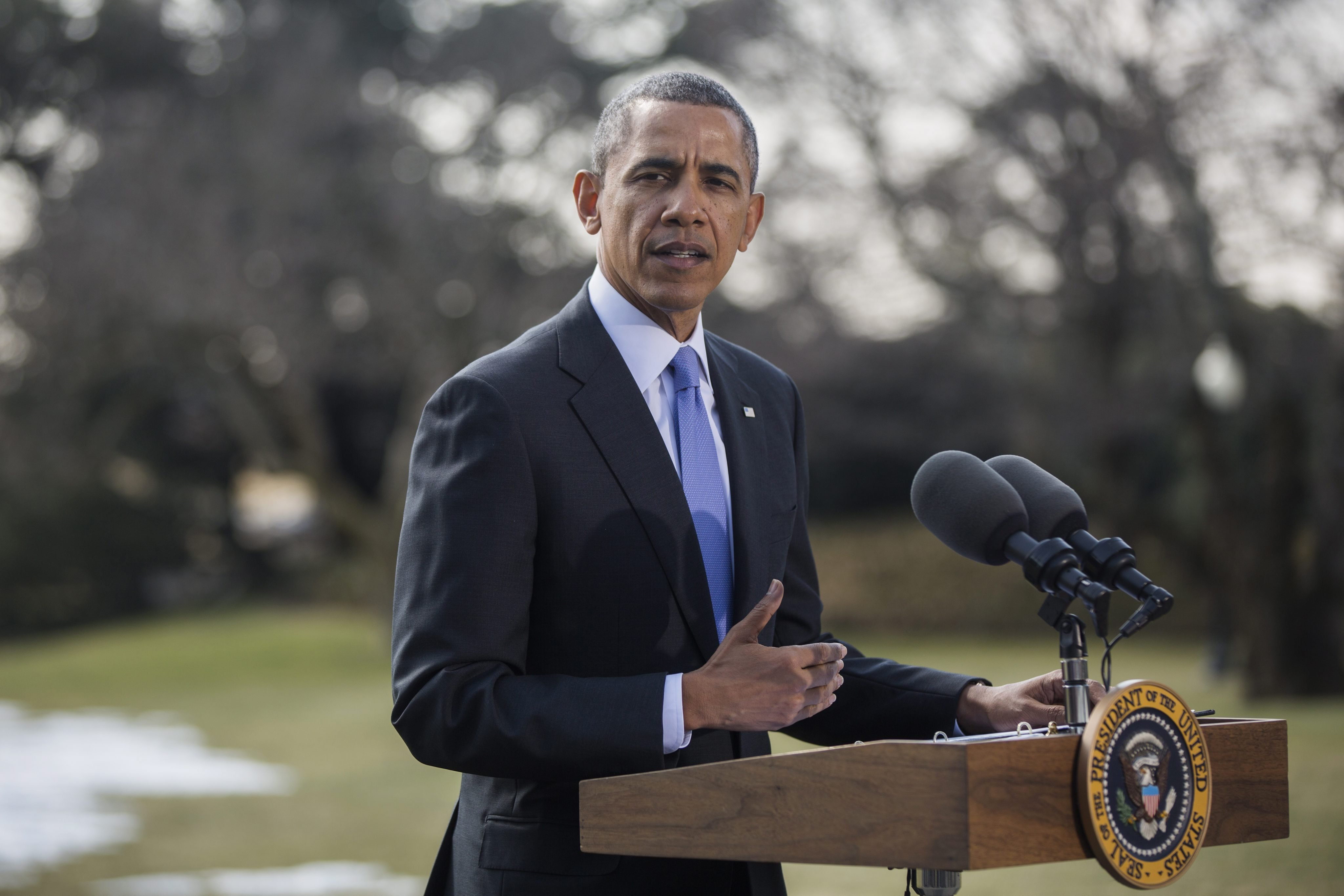 U.S. President Barack Obama announces additional sanctions against Russia on the South Lawn of the White House in Washington, D.C., on March 20, 2014.
