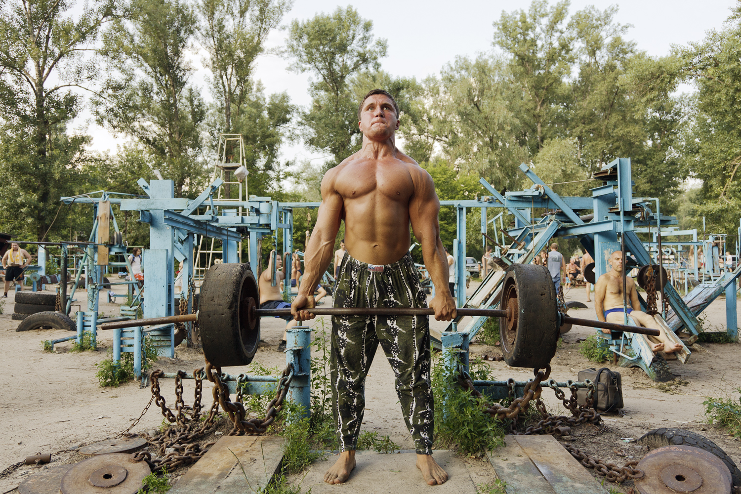 Kachalka, a public, open air gym built in soviet-era Ukraine, attracts serious body builders and amateurs alike.