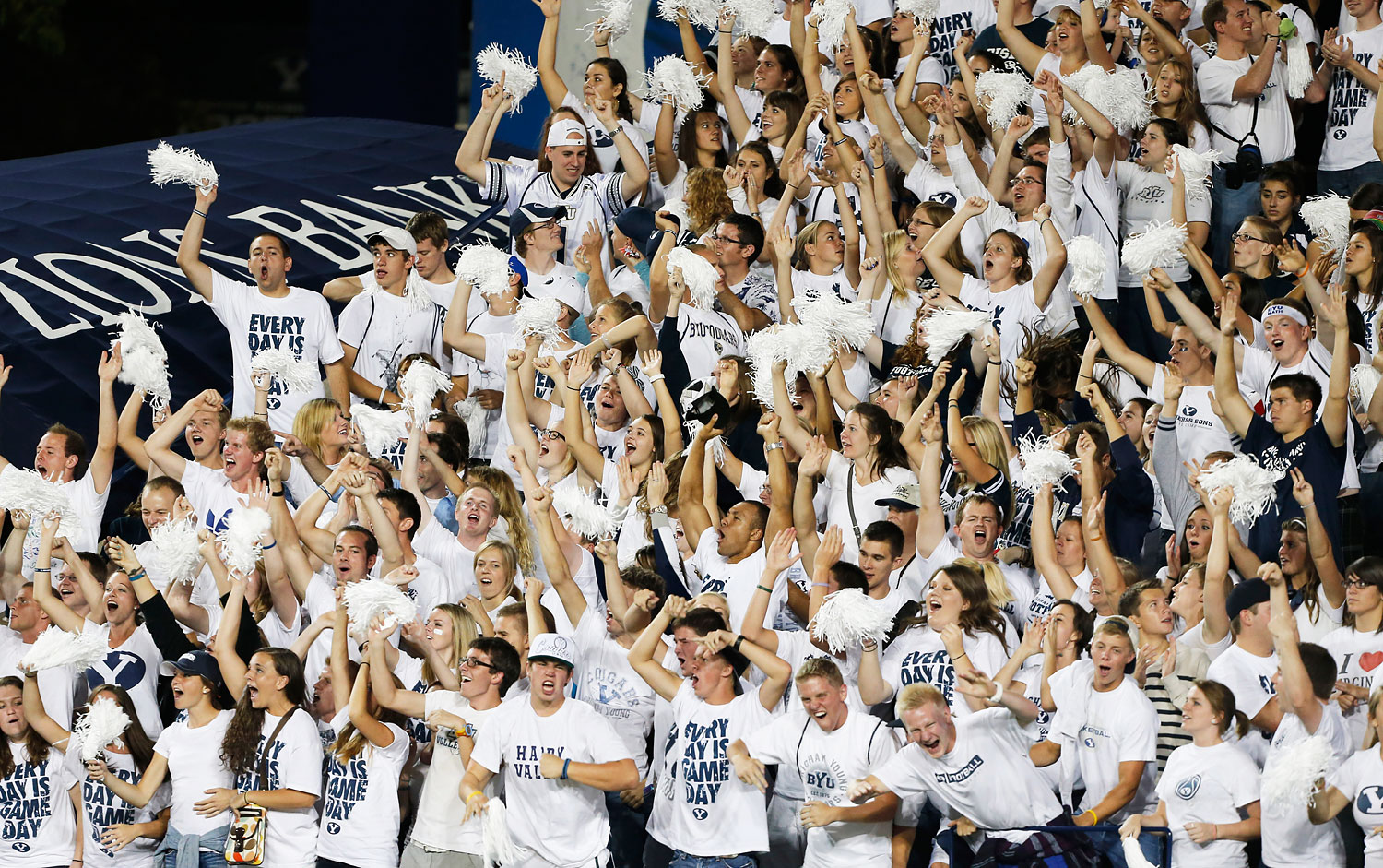 BYU fans cheer during a game against Washington State in 2012 in Provo, Utah.