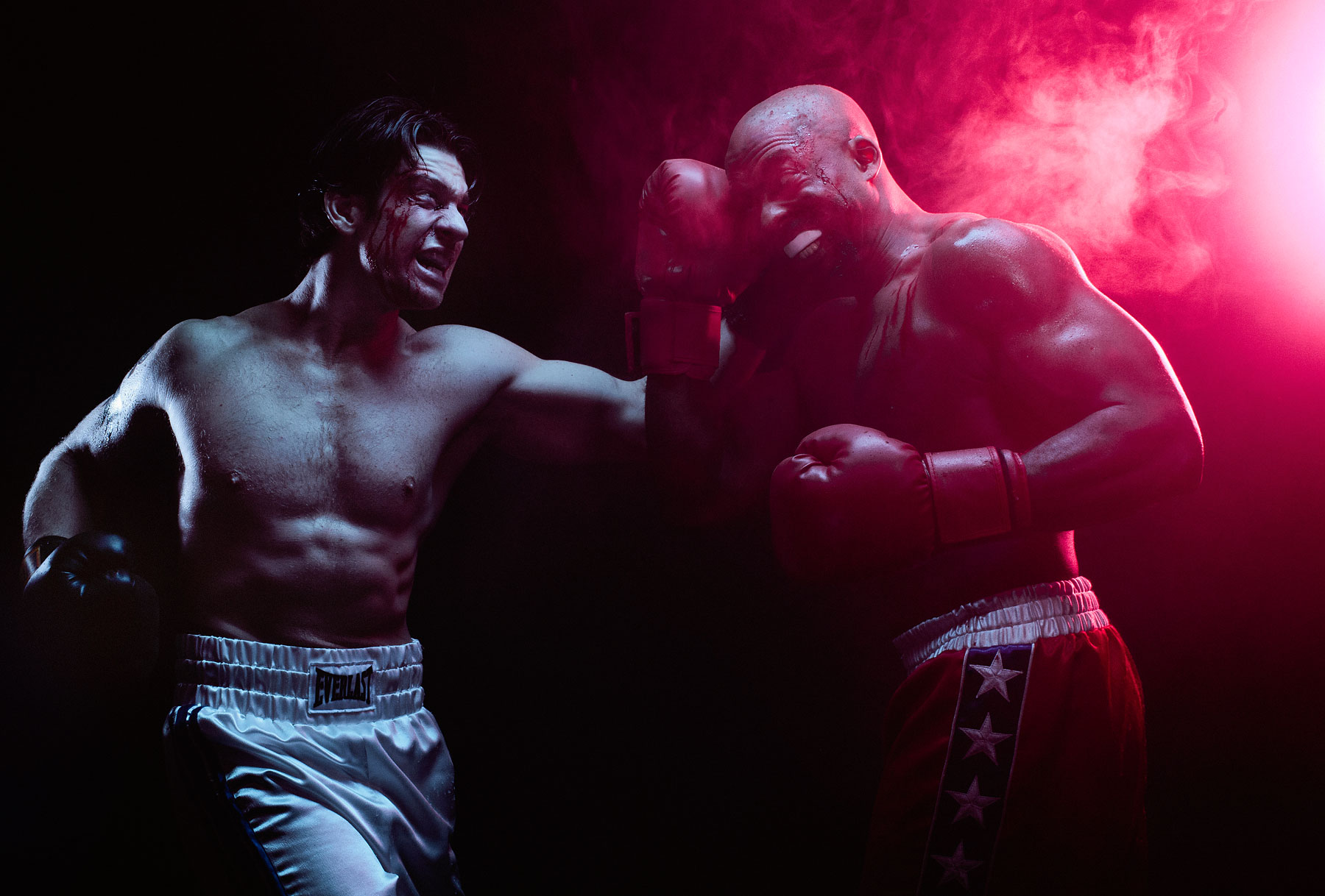 Andy Karl as Rocky Balboa and Terence Archie as Apollo Creed in ROCKY on Broadway.