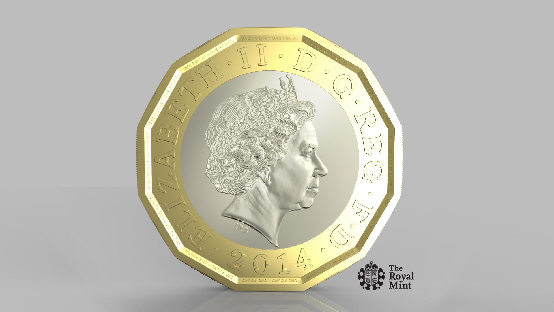 This image supplied by the Royal Mint on March 19, 2014, shows the new design for a 12-sided one pound coin.