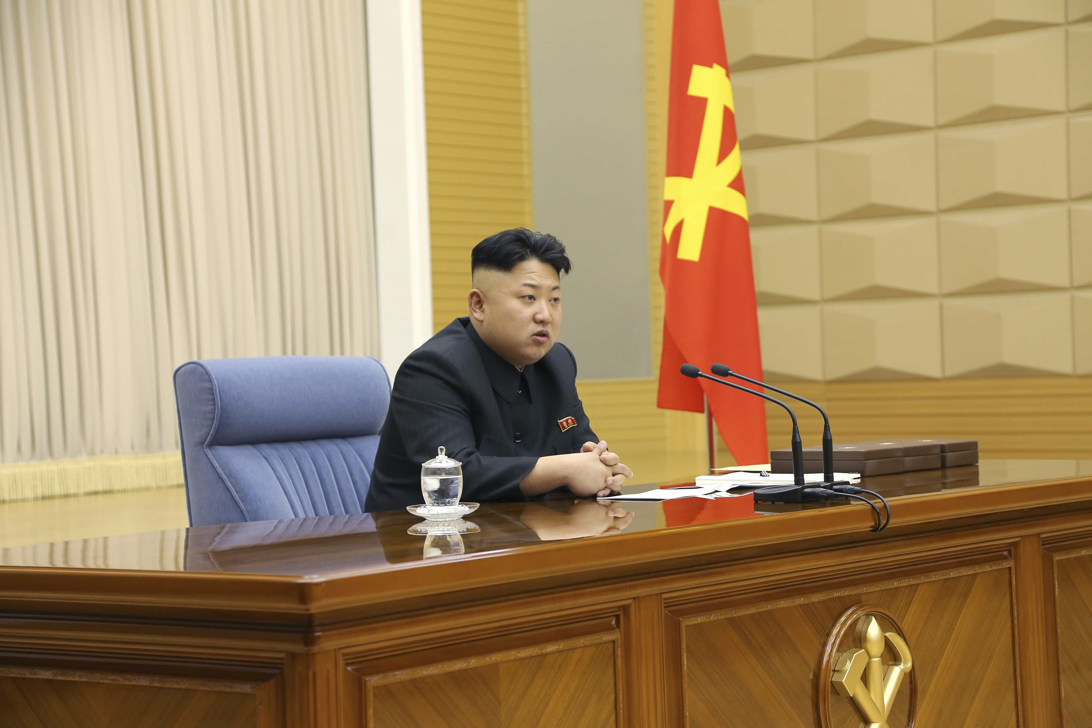 Nice haircut, Mr Dictator. North Korea leader Kim Jong Un presides over a meeting of the Central Military Commission of the Workers' Party of Korea.