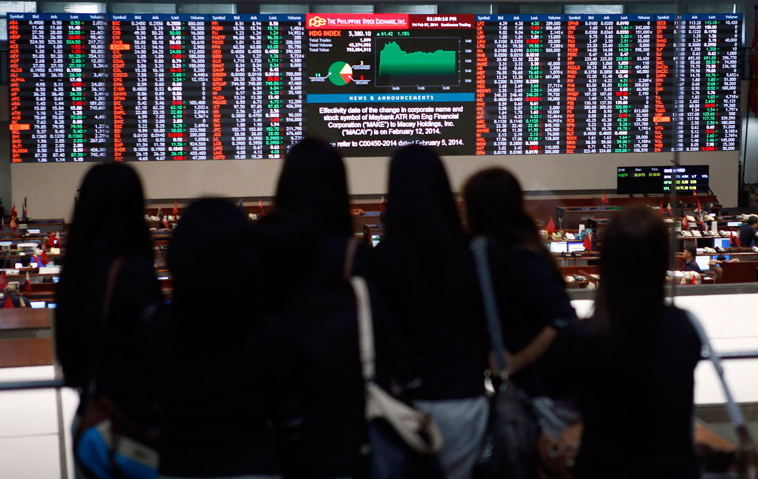 University interns monitor trading at the Philippine Stock Exchange in the financial district of Makati, Philippines, on Feb. 7, 2014