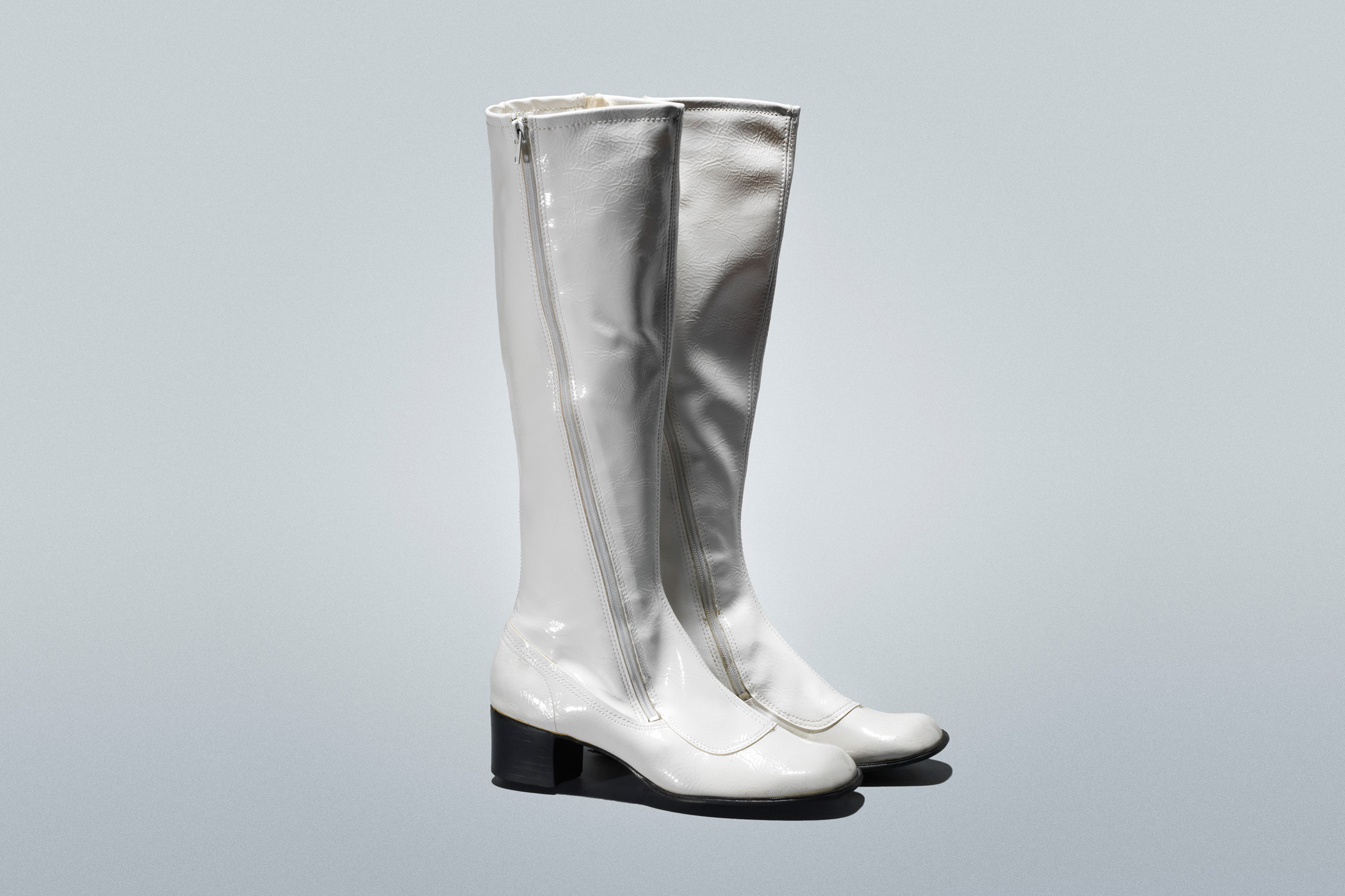 """Sally's go-go boots (1967, from vintage store Playclothes): """"The outfit shocked Don and the audience. Sally's growing up with Megan as an influence… It's very reminiscent of that iconic Twiggy style. Everyone wanted the iconic white go-go boots."""" —Janie Bryant"""