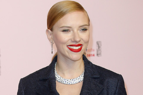 Scarlett Johansson arrives at the 39th French Cesar Awards Ceremony, in Paris, on Feb. 28, 2014.