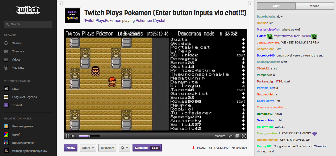 In Twitch Plays Pokemon, users can input commands through a chat window to control the game's main character