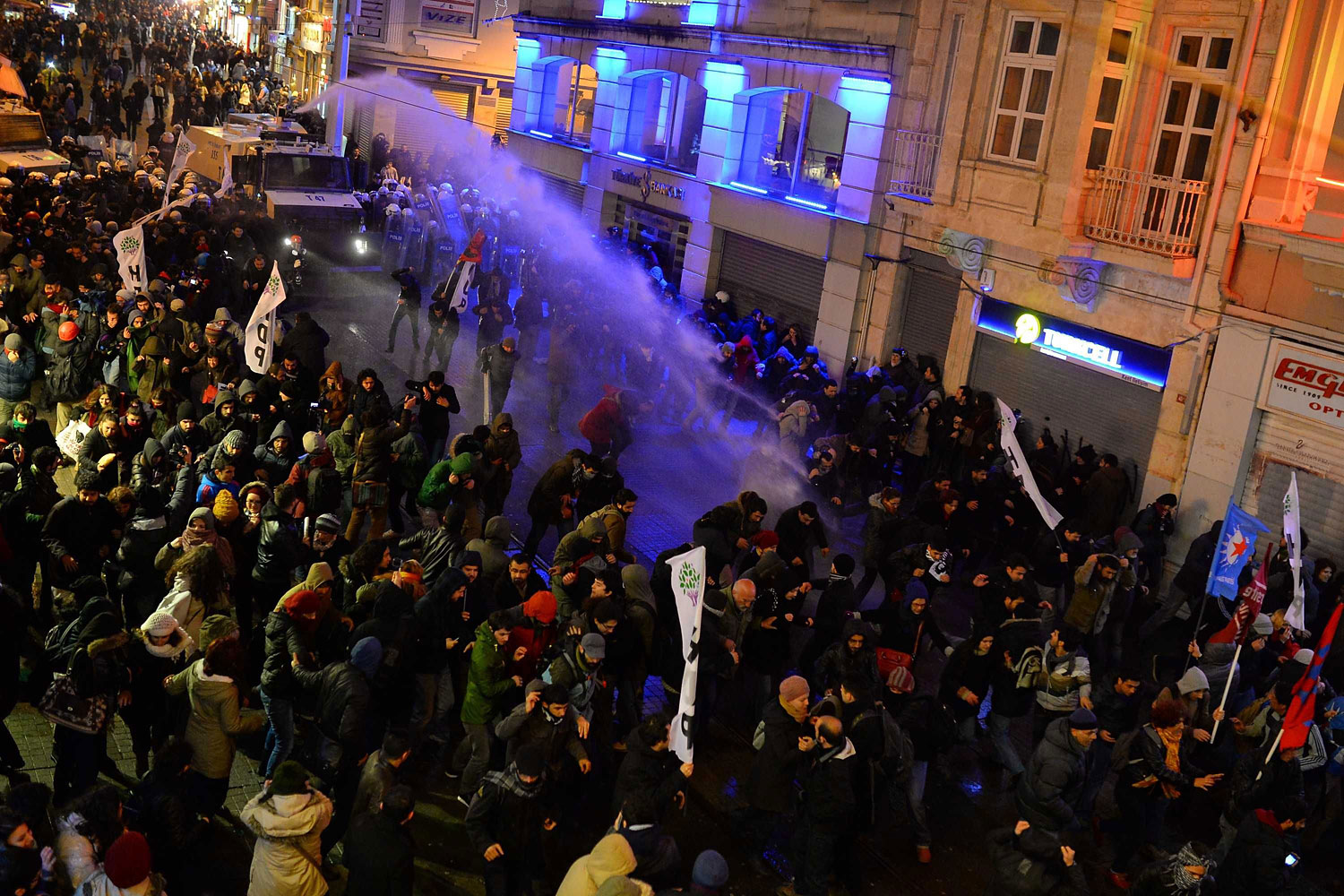 Turkish riot police use water cannons to disperse protesters in Istanbul, March 11, 2014.