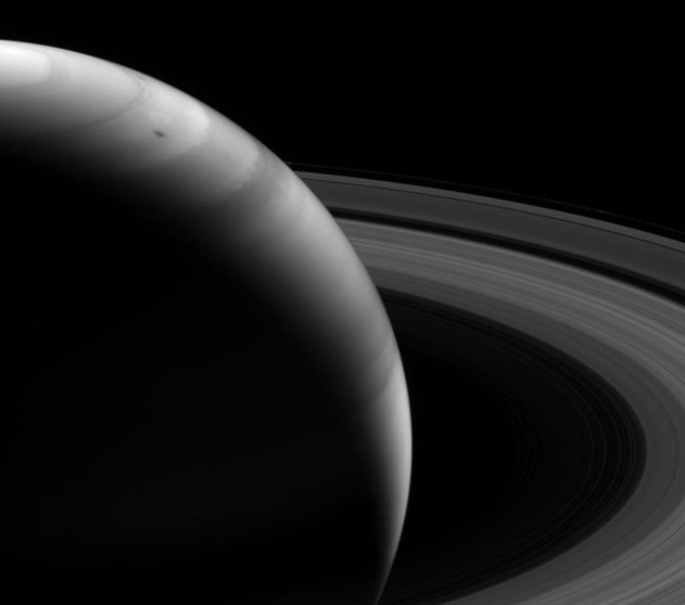 A view from the shadowed side of Saturn looking toward the sunlit side, taken by the Cassini spacecraft and released on Nov. 20, 2013. The picture was taken from about 18 degrees above the planet's ring plane.