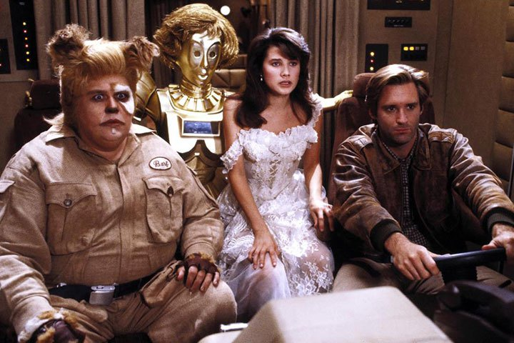 Spaceballs                               If you like Star Wars, you'll love Spaceballs (if you haven't already seen it). The Star Wars spoof stars Bill Pullman as Captain Lone Starr, a spoof of Han Solo, as he and his trusted companion, Barf (John Candy), save Princess Vespa from the comically evil Lord Dark Helmet. May the Schwartz be with you.