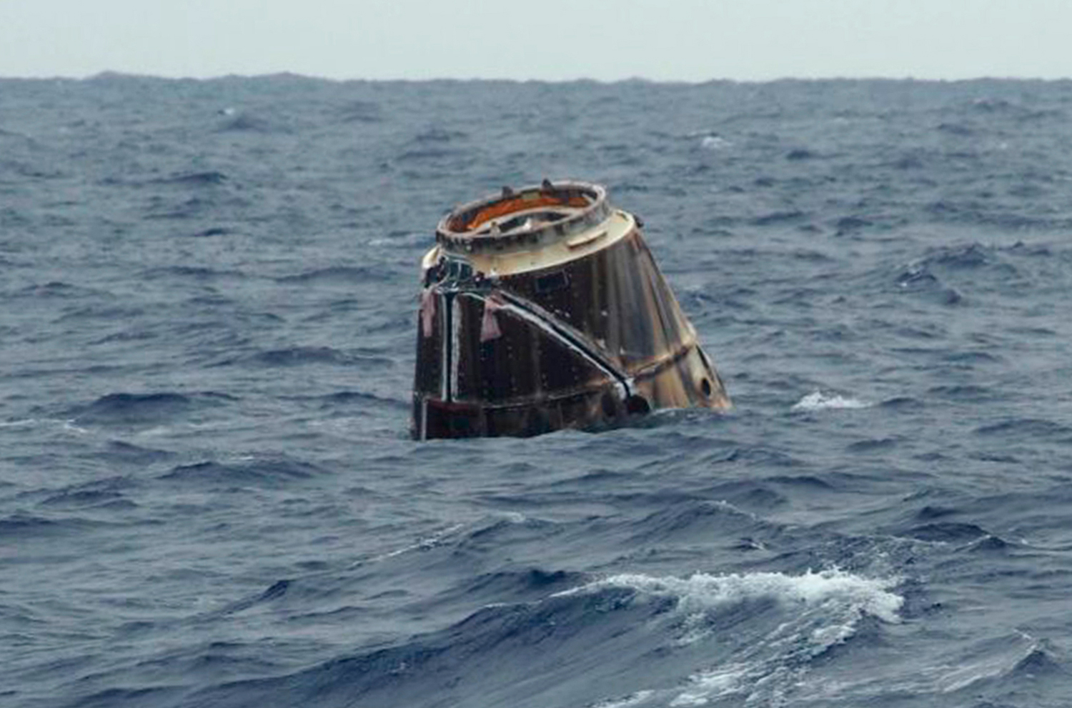 SpaceX's unmanned Dragon capsule floats in the Pacific Ocean off of Baja California on May 31, 2012.