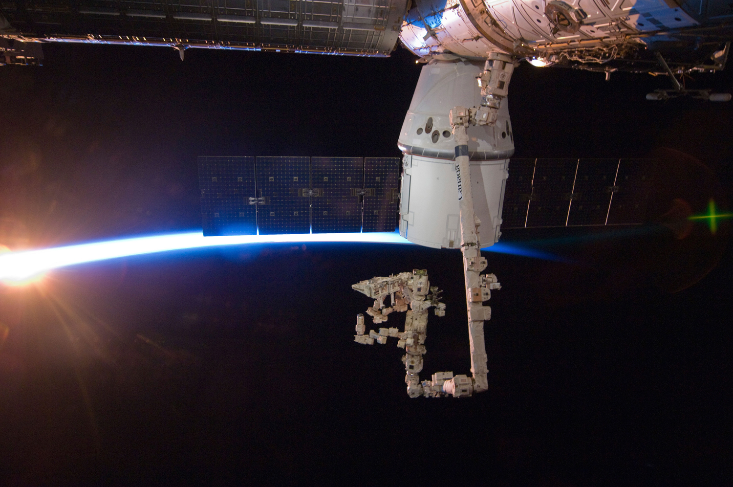 SpaceX's Dragon commercial cargo craft is berthed to the International Space Station on May 25, 2012.