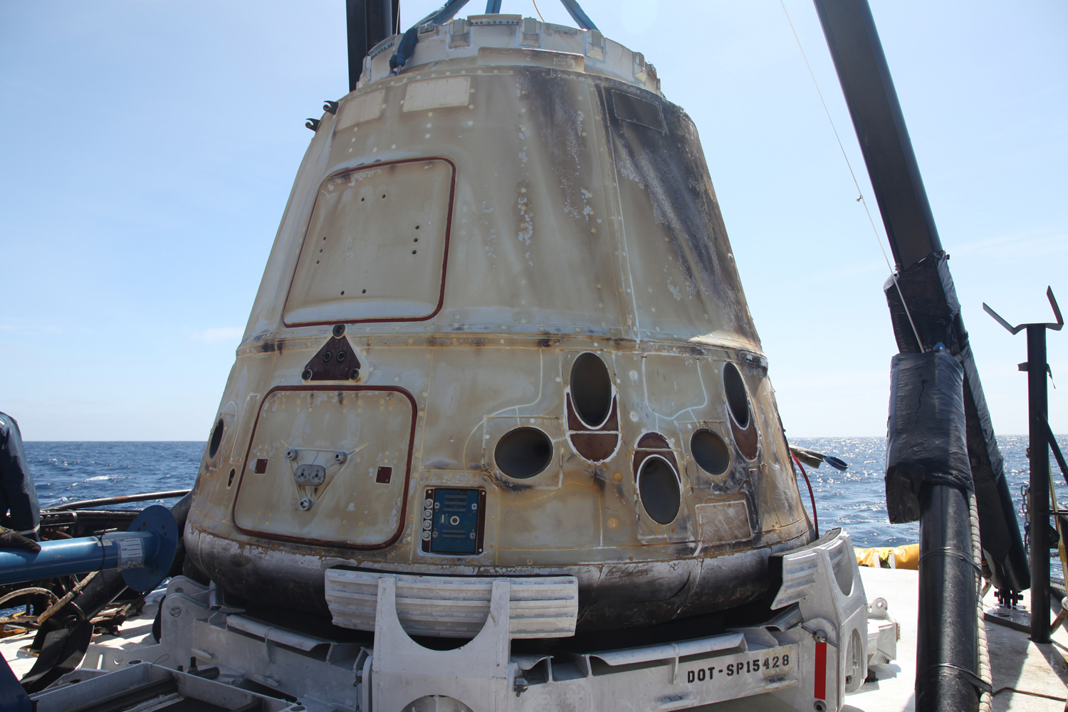 SpaceX's Dragon on the recovery boat on April 13, 2013.