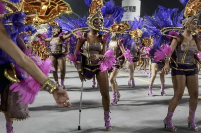 Revelers of the Nene de Vila Matilde samba school perform during the second night of the carnival parade in Sao Paulo on March 1, 2014.