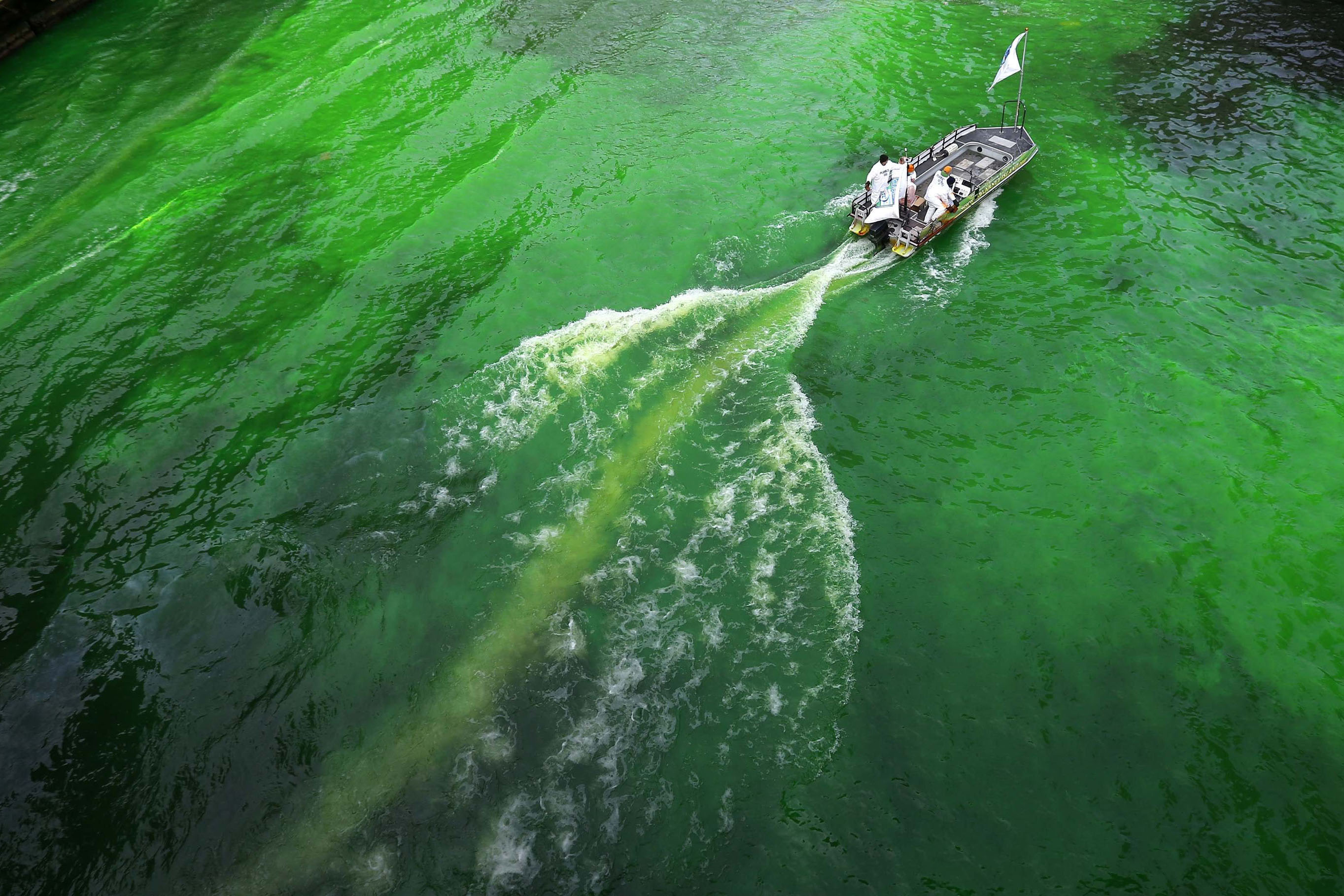 The Chicago River is dyed green in celebration of St. Patrick's Day in Chicago, March 15, 2014.