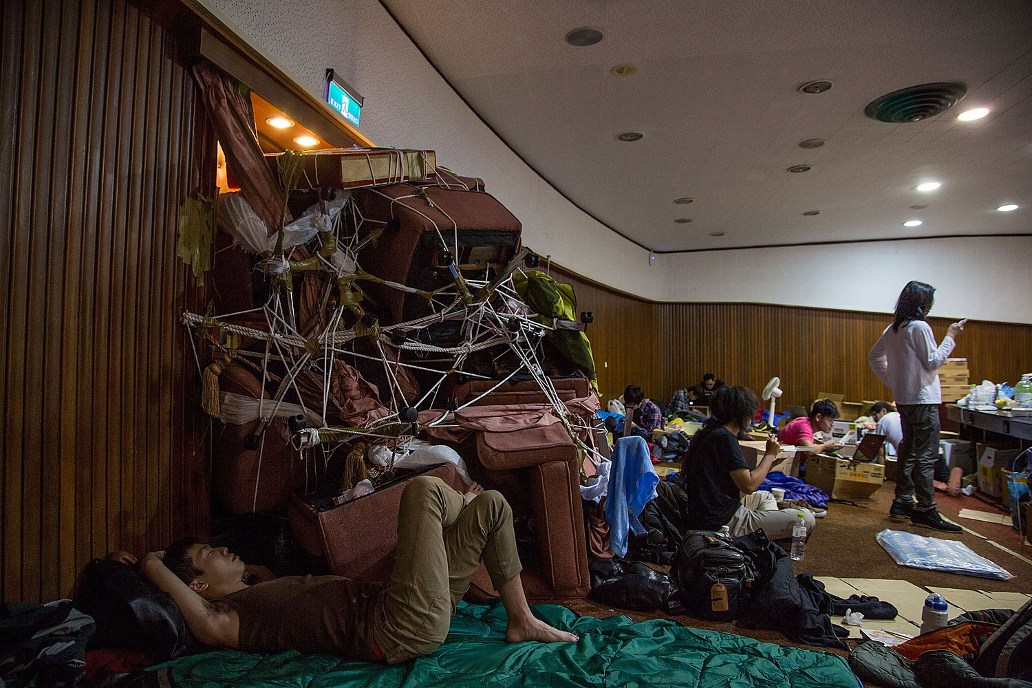 Student protesters occupy the legislature the day after the clash with riot police at the Executive Yuan on March 24, 2014 in Taipei, Taiwan.