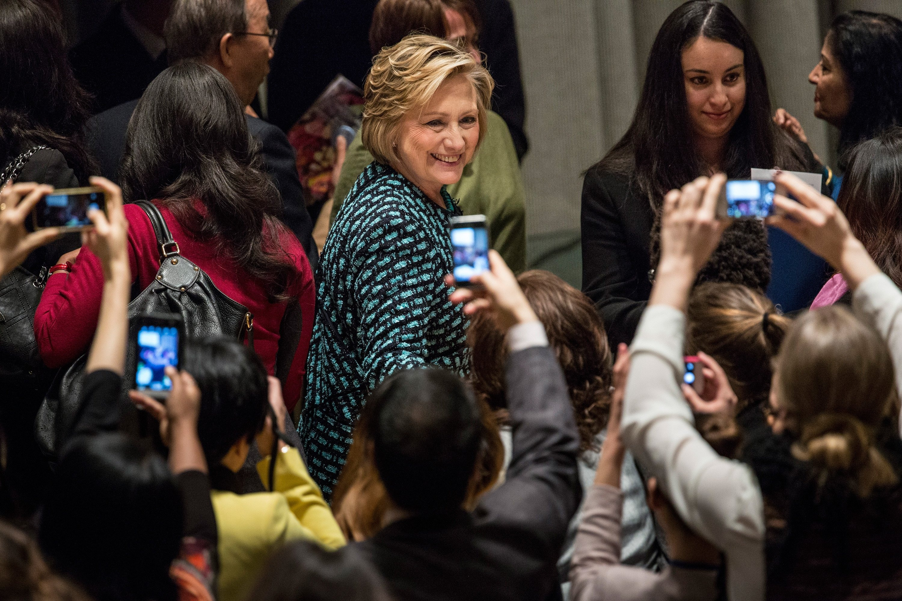 Former Secretary of State Hillary Clinton leaves an event at the U.N. in New York City on March 7, 2014