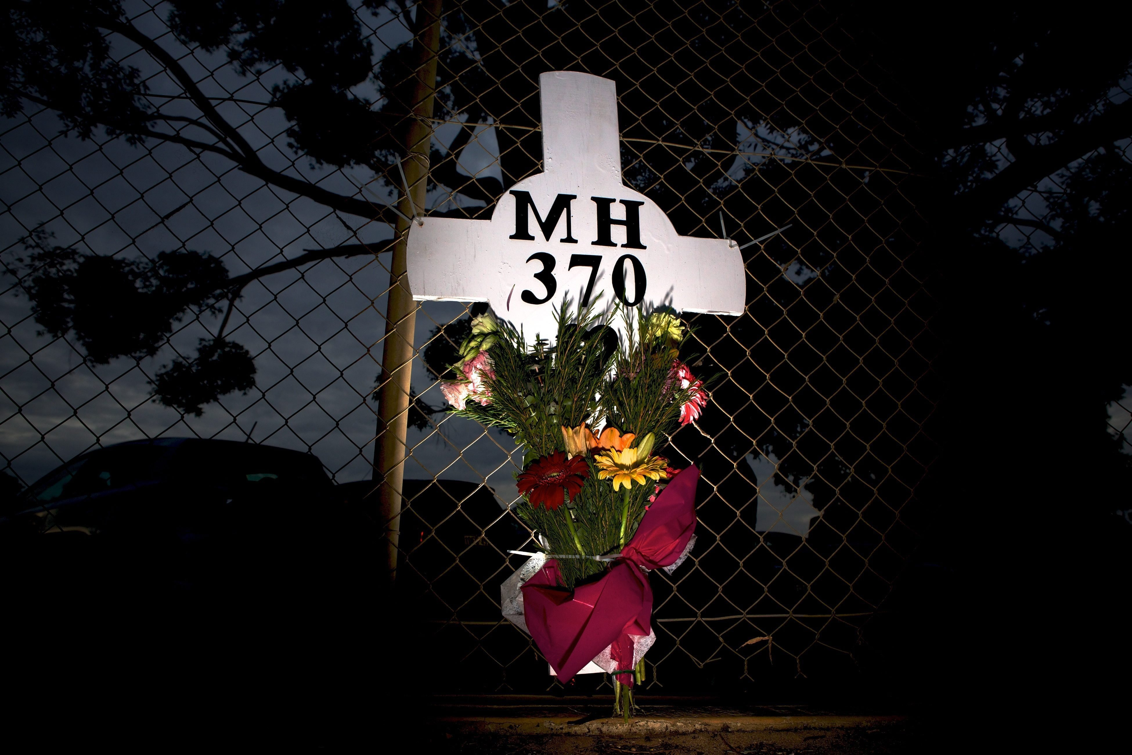 A memorial for MH370's victims outside an air force base in Perth, Australia