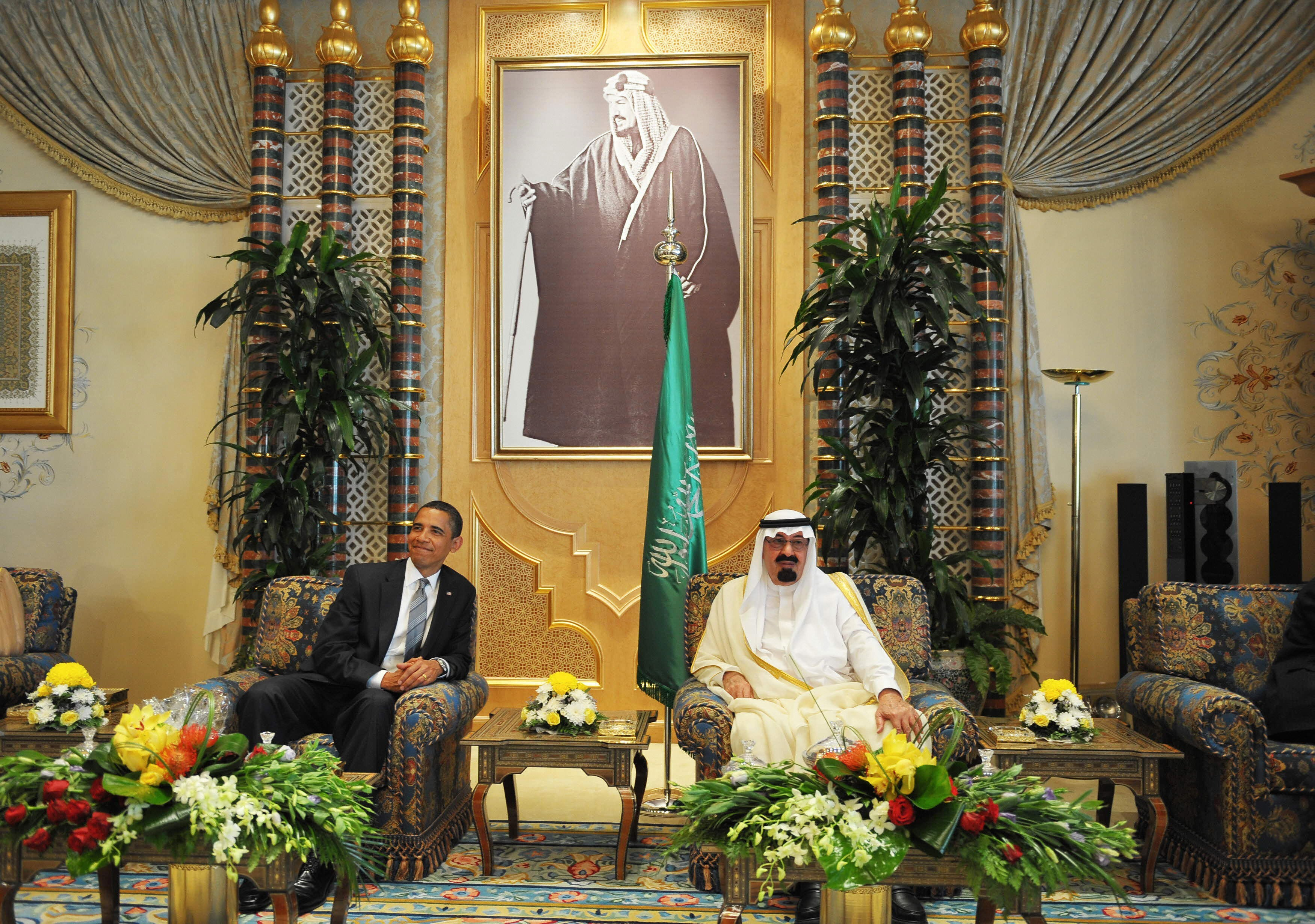 King Abdullah hosts Barack Obama at a reception during the President's 2009 trip to Saudi Arabia