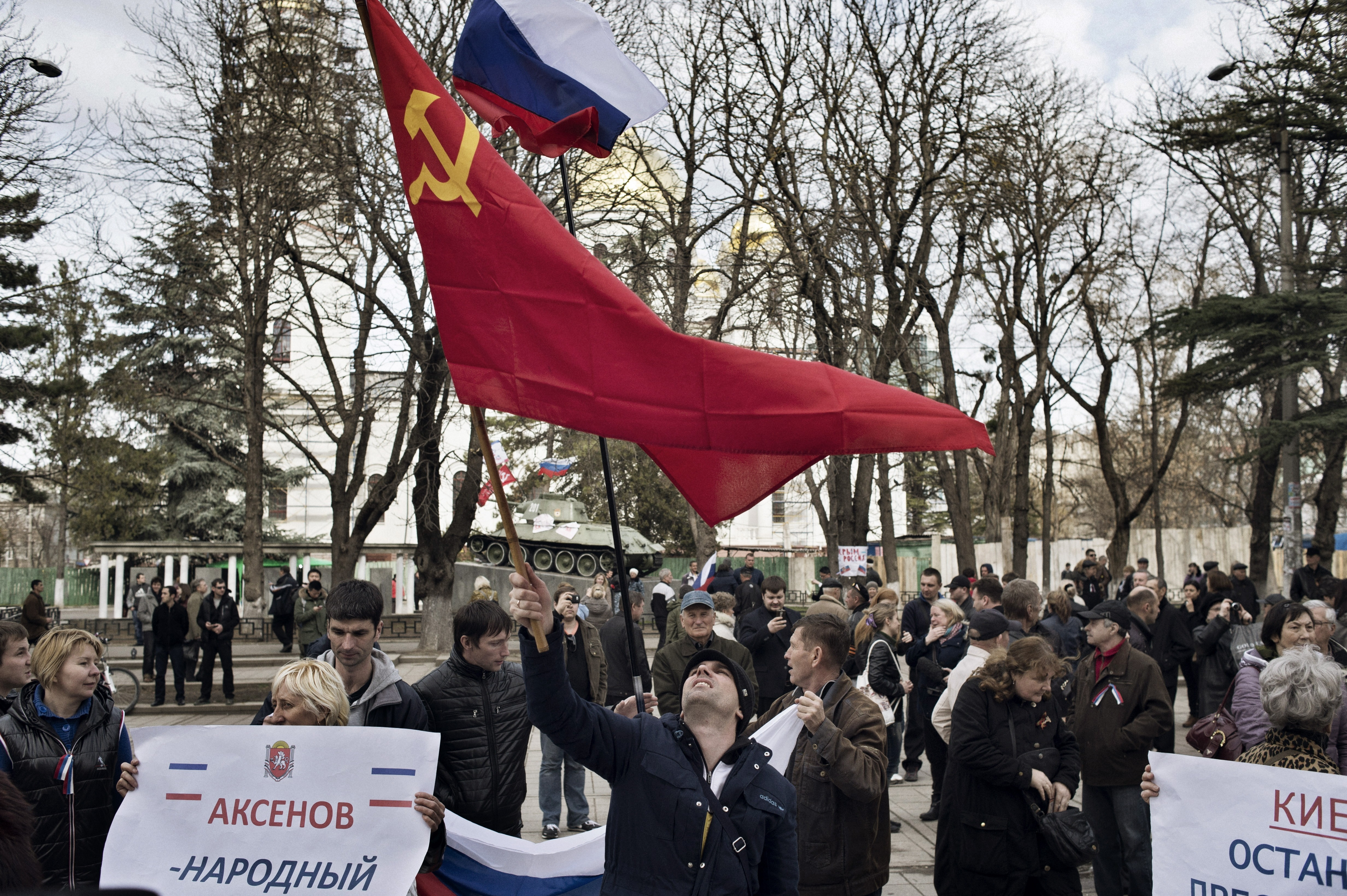 Pro-Russian demonstrators in Simferopol, Ukraine March 6 2014.