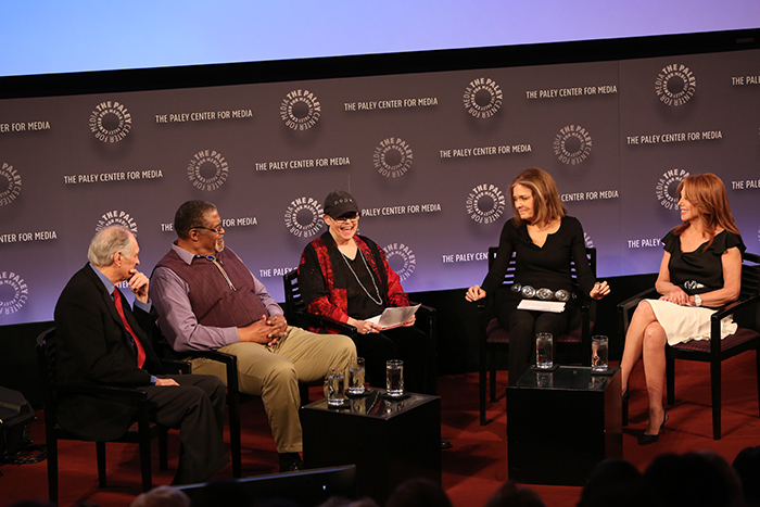 Alda, Grier, Hart, Steinem, and Thomas at the 40th anniversary panel