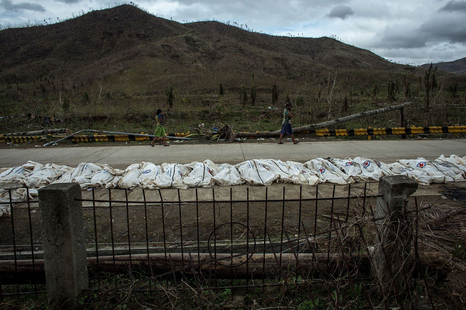 Bodies are seen on a road before being placed in a mass grave on the outskirts of Tacloban City on November 20, 2013 in Leyte, Philippines.