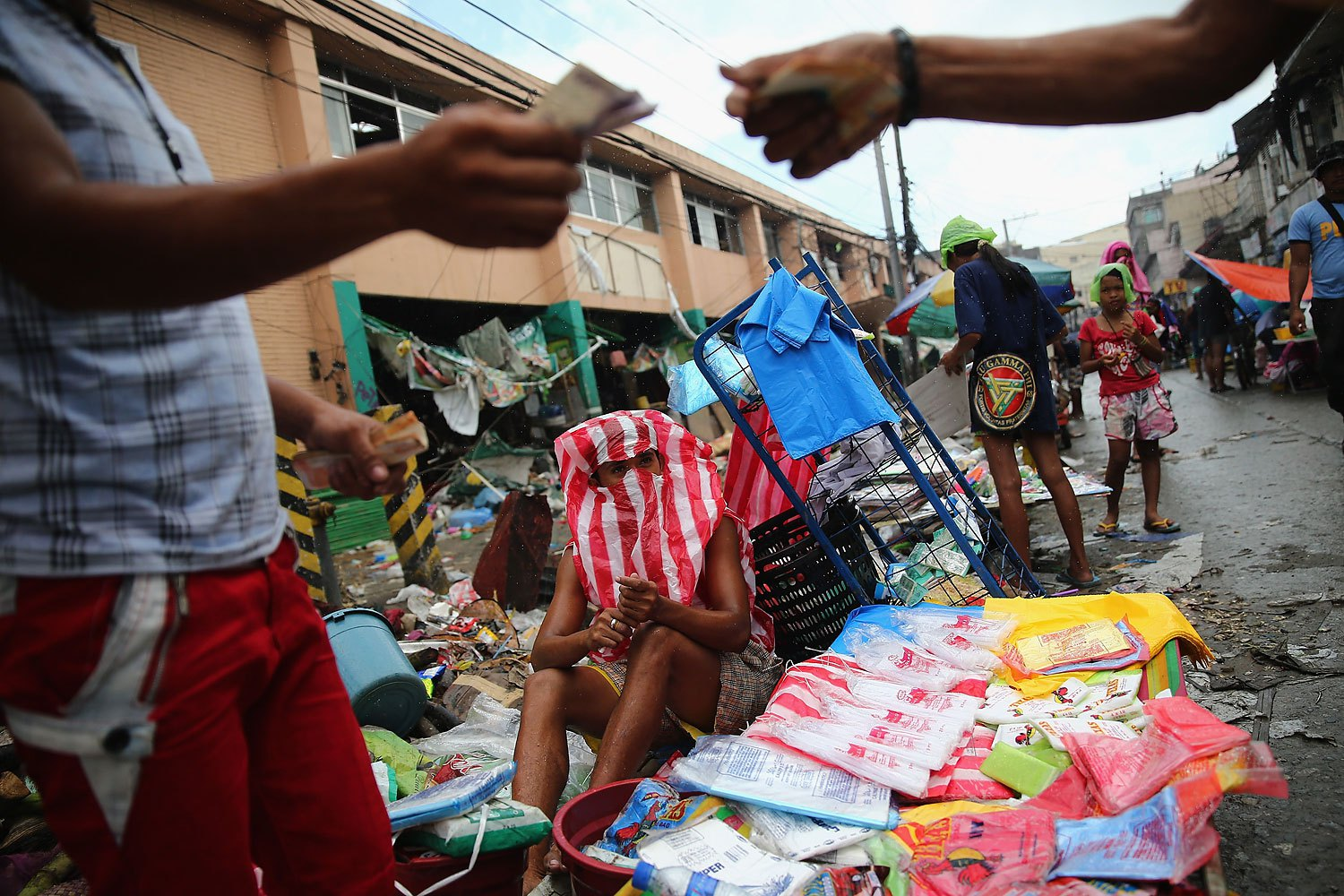 Market stall holders trade goods in Tacloban on November 19, 2013 in Leyte, Philippines.