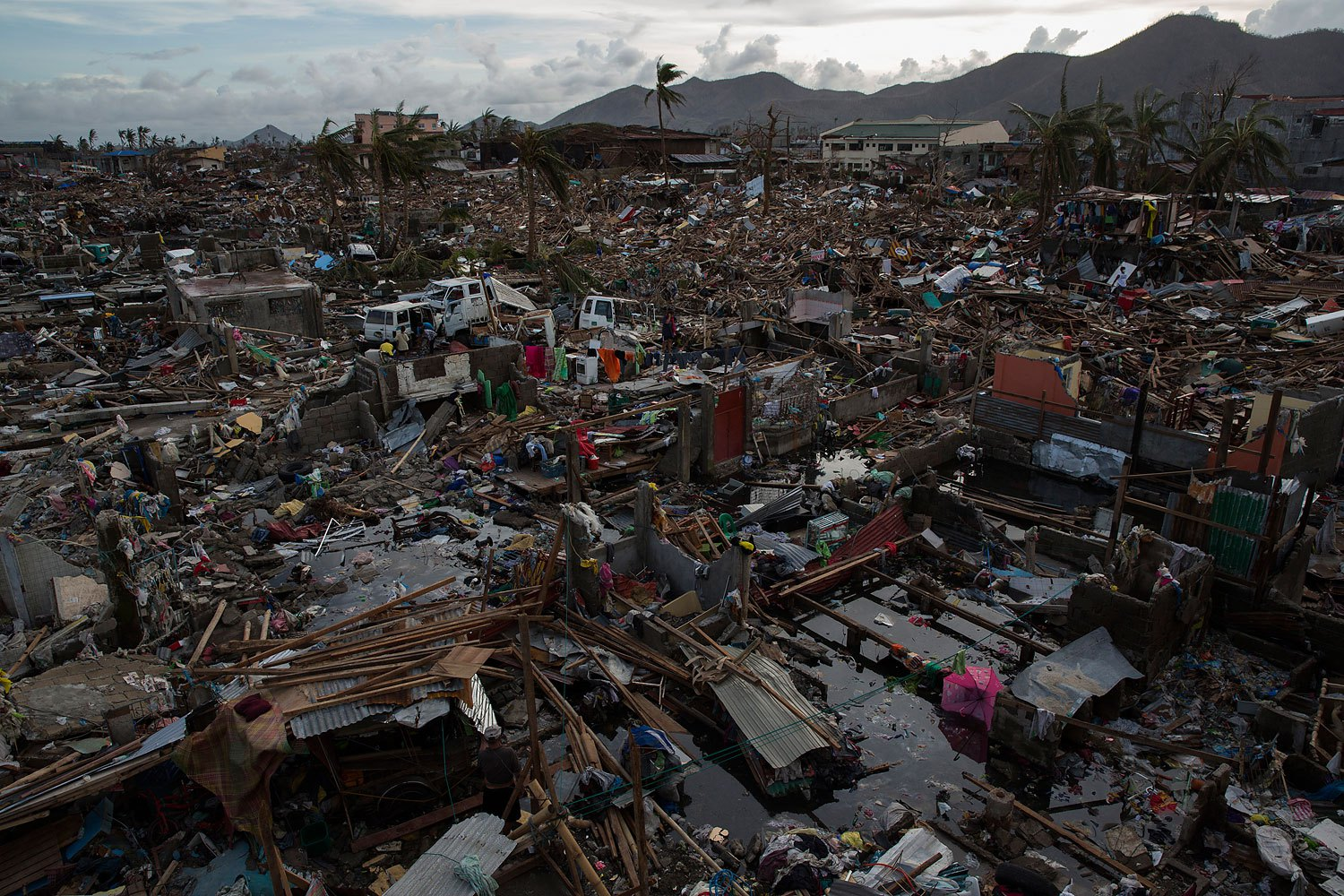 A neighborhood destroyed by Haiyan Typhoon in Tacloban,  Philippines on November 13, 2013.