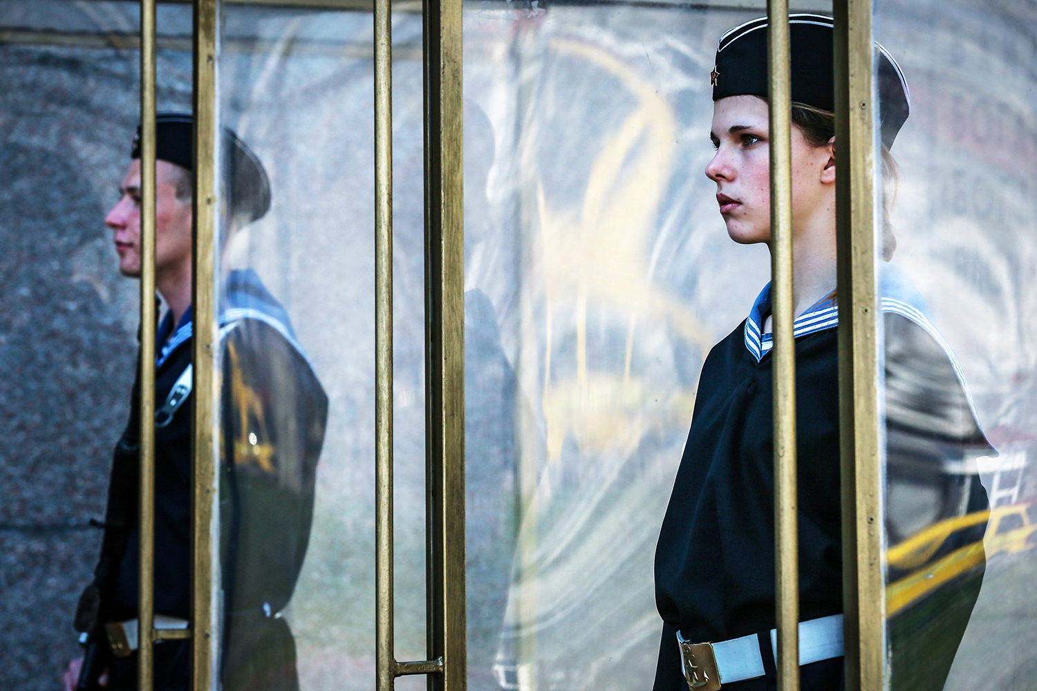 Mar. 27, 2014.  Crimean schoolchildren dressed as Soviet navy servicemen perform the change of the honor guard ceremony at the Memorial to the Heroes of the defense of Sevastopol 1941-1942 in Sevastopol, Crimea.