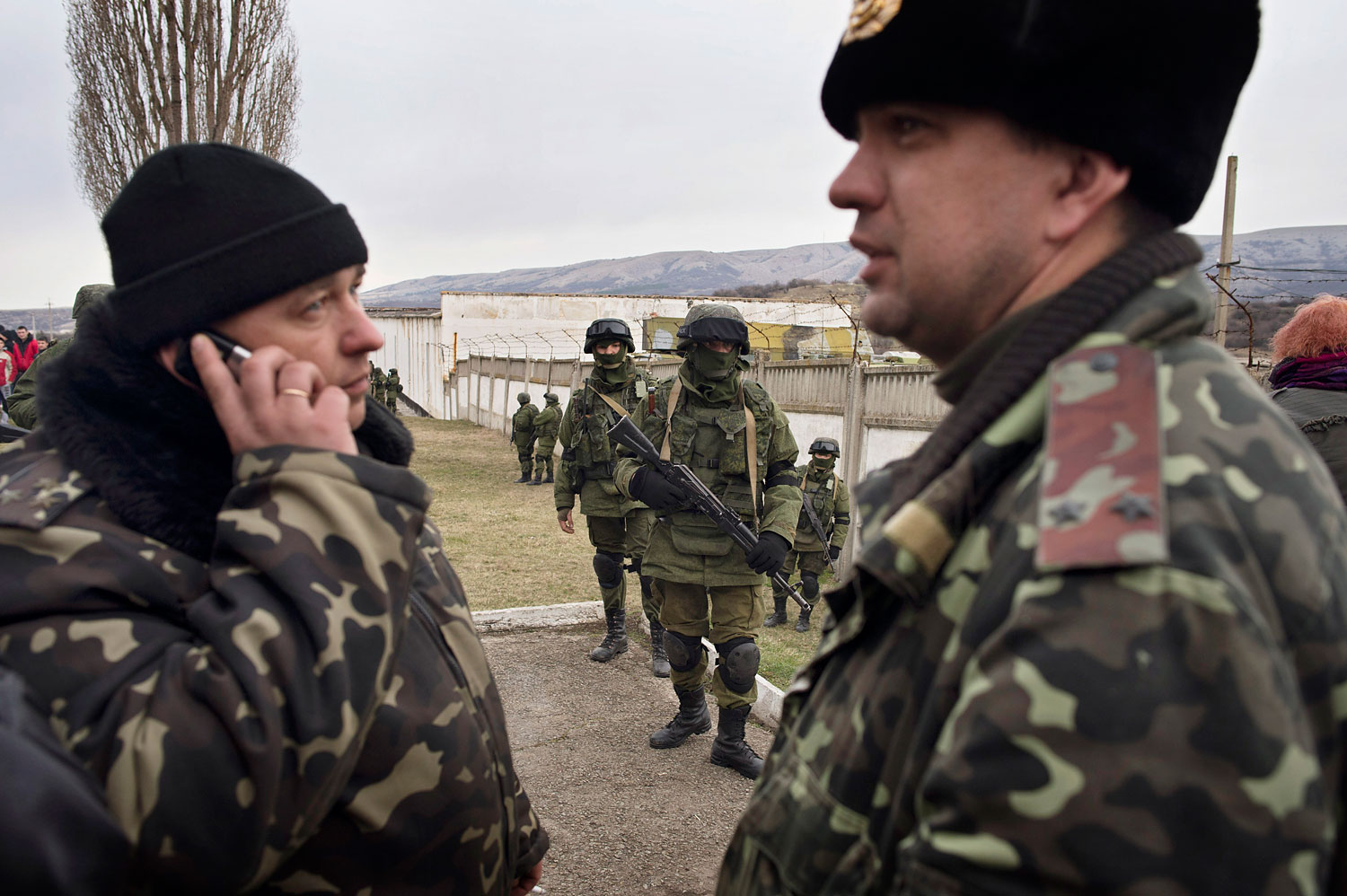 The Ukrainian commander, Col. Sergei Starozhenko, left, outside of his base in the Crimean village of Perevalnoye, on March 2, 2014.