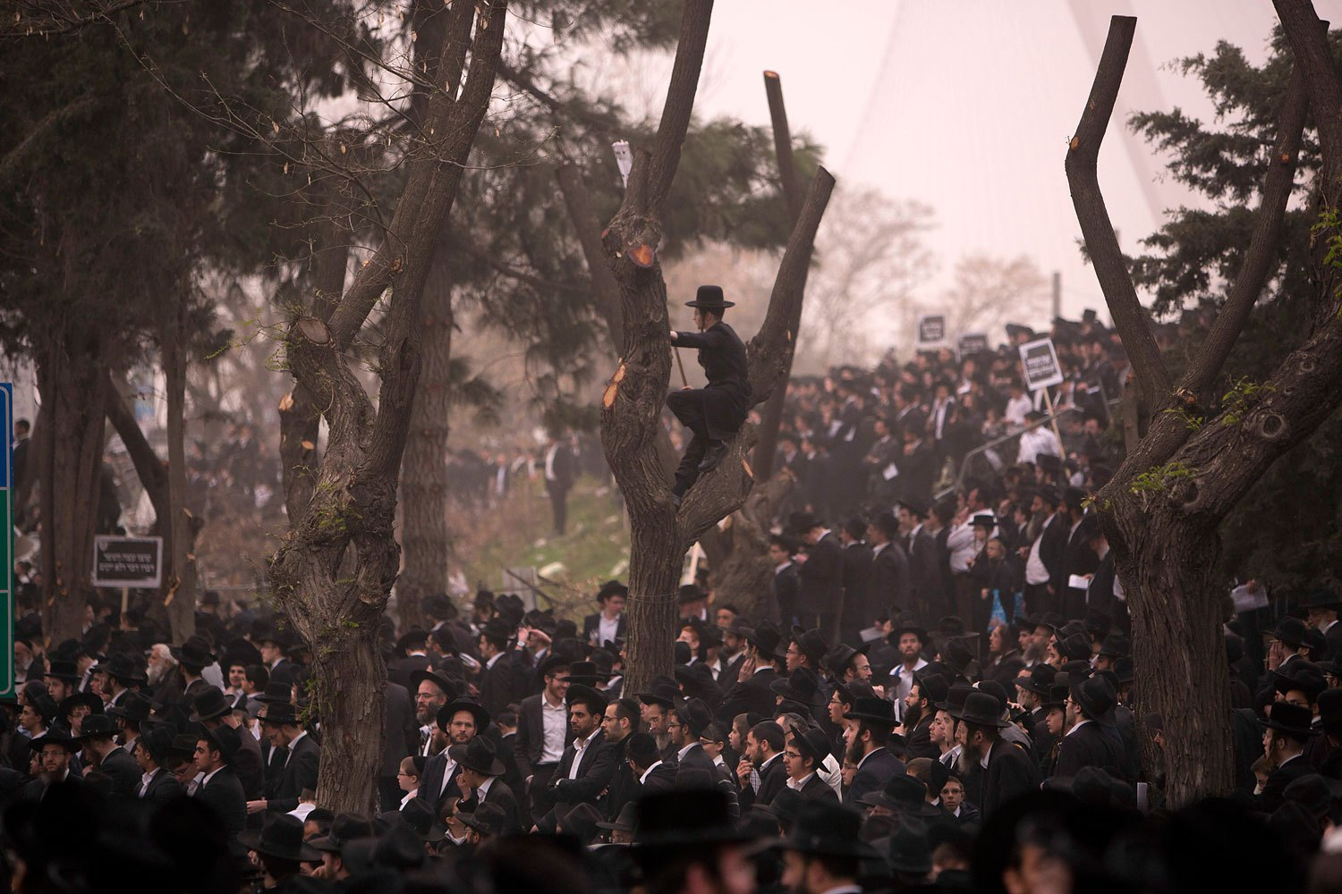 Hundreds of thousands of ultra-Orthodox Jews rally in a massive show of force against plans to force them to serve in the Israeli military, blocking roads and paralyzing the city of Jerusalem, March 2, 2014.