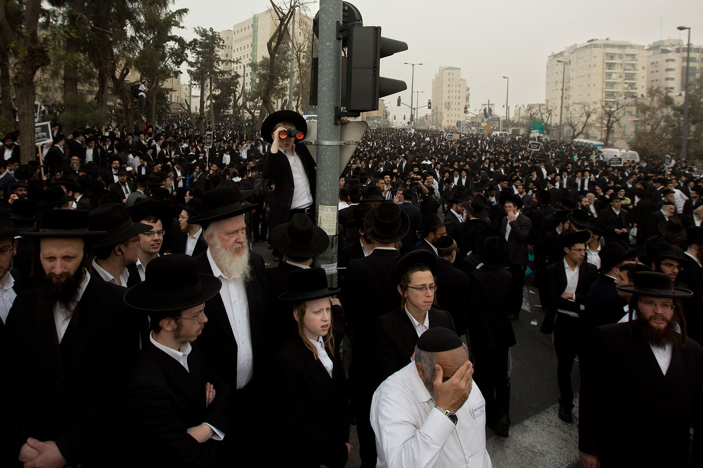 Ultra-Orthodox Jewish men participate in a rally in Jerusalem, March 2, 2014.