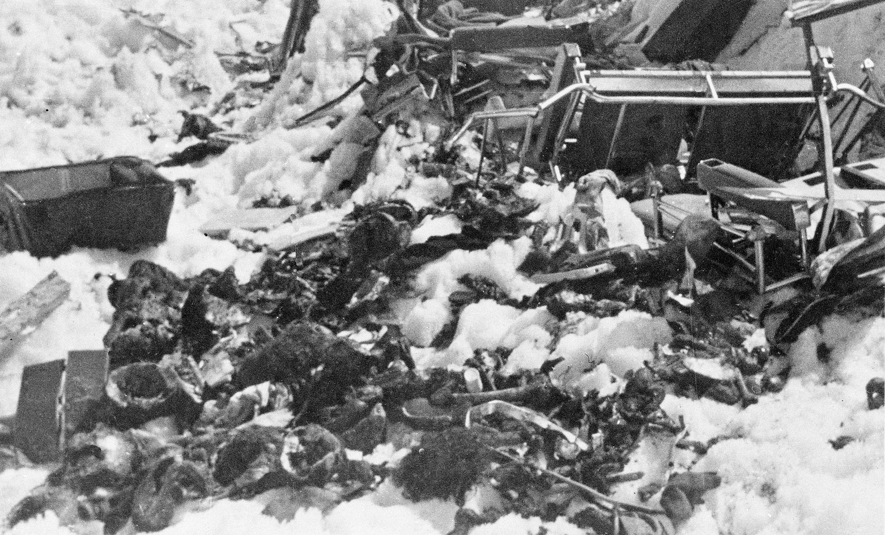 Part of the wreckage of Uruguayan Air Force Flight 571, seen Dec. 23, 1972.