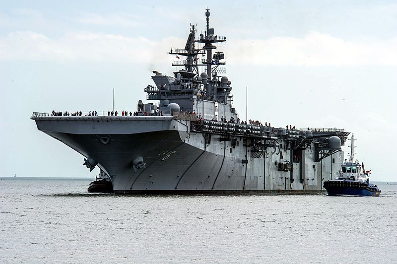 The first ship of the Marines' new class of mini-carriers, the USS America, in sea trials in November.