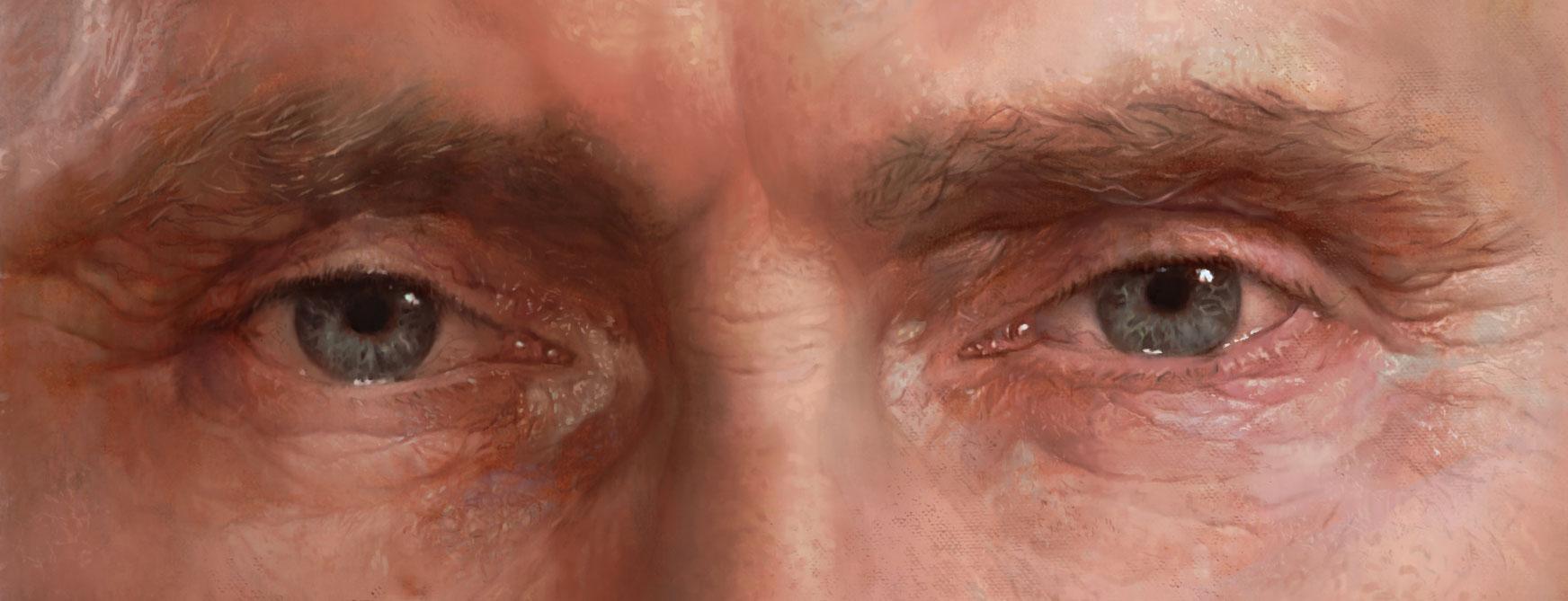 A detail from Sokov's portrait of Vladimir Putin.