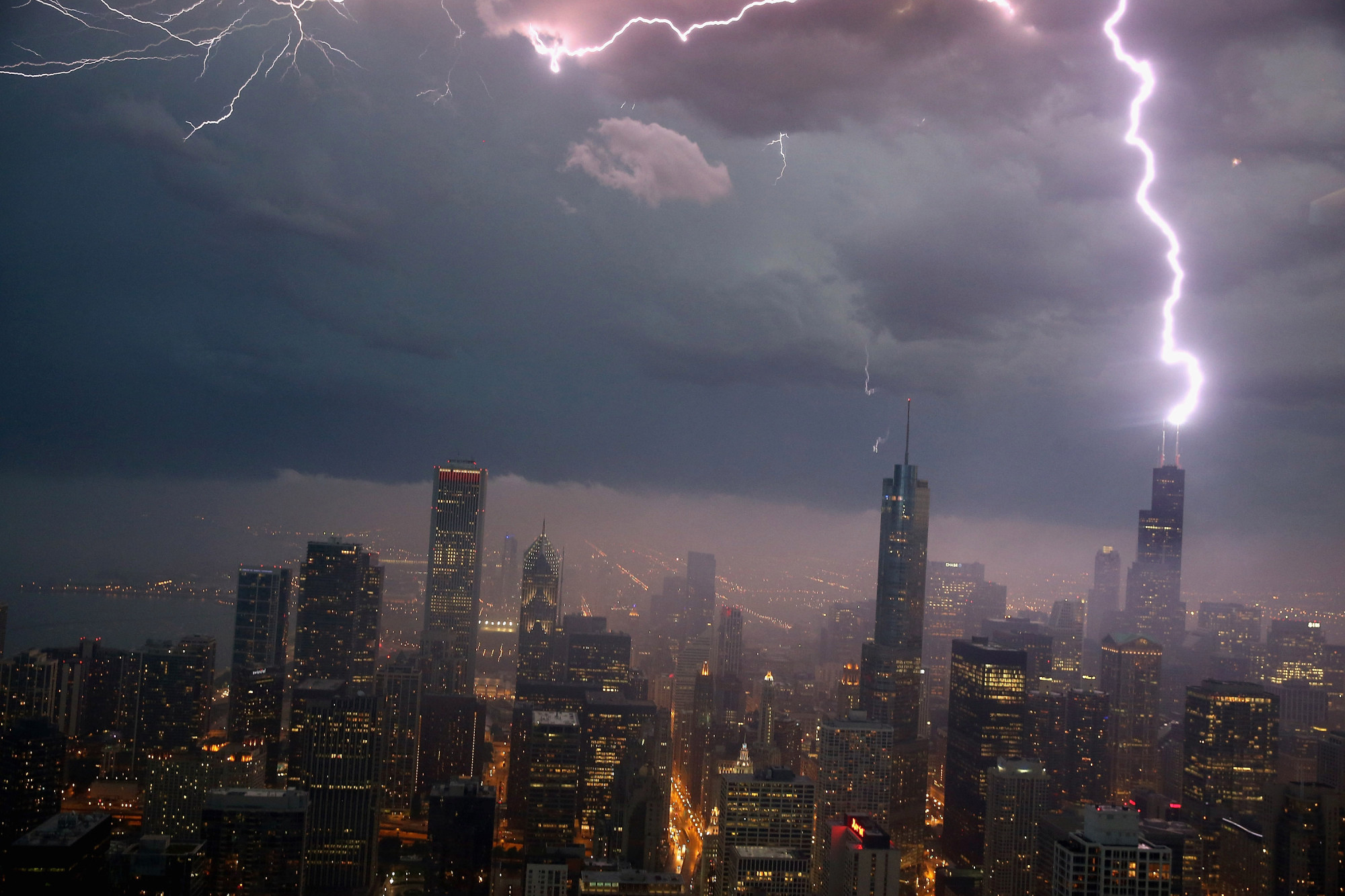 Lightning strikes the Willis Tower, formerly Sears Tower, in downtown on June 12, 2013 in Chicago, Illinois.