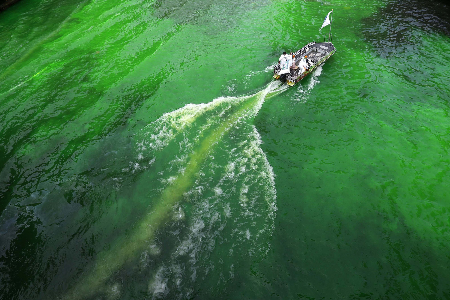 Mar. 15, 2014.  The Chicago River was dyed green in celebration of St. Patrick's Day.