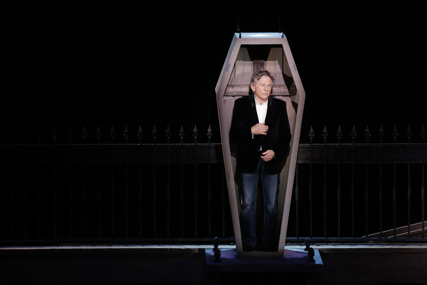 Mar. 17, 2014. Polish-French film director Roman Polanski stands in a coffin as he takes part in the presentation of the musical  Le Bal des Vampires  (Dance of the Vampires) at the Mogador theatre in Paris.