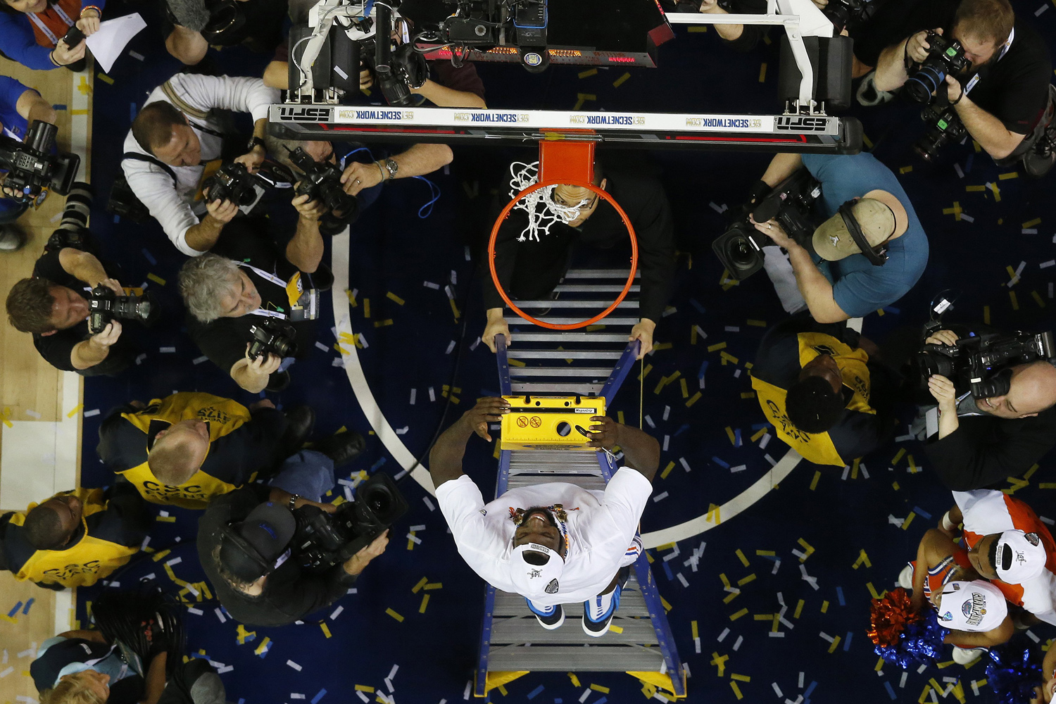 Florida's Patric Young heads to the net after the second half of an NCAA college basketball game against Kentucky in the Championship round of the Southeastern Conference men's tournament, Sunday, March 16, 2014, in Atlanta. Florida won 61-60. (AP Photo/John Bazemore)