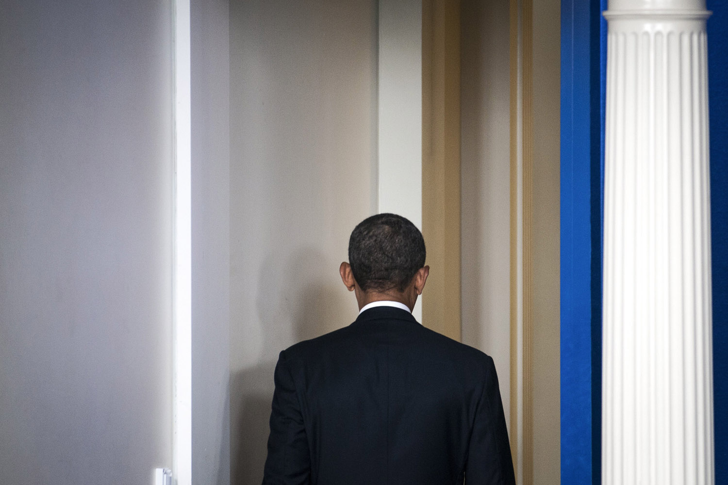 Mar. 17, 2014. President Barack Obama leaves after speaking to reporters at the White House in Washington. The U.S., working in coordination with Europe, imposed a new round of sanctions on prominent Russian officials on Monday as the showdown over Ukraine reached a new stage of confrontation between East and West.