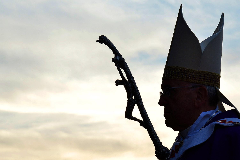 Mar. 16, 2014. Pope Francis arrives to lead a mass at the parish of Santa Maria dell'Orazione in Guidonia Montecelio near Rome.