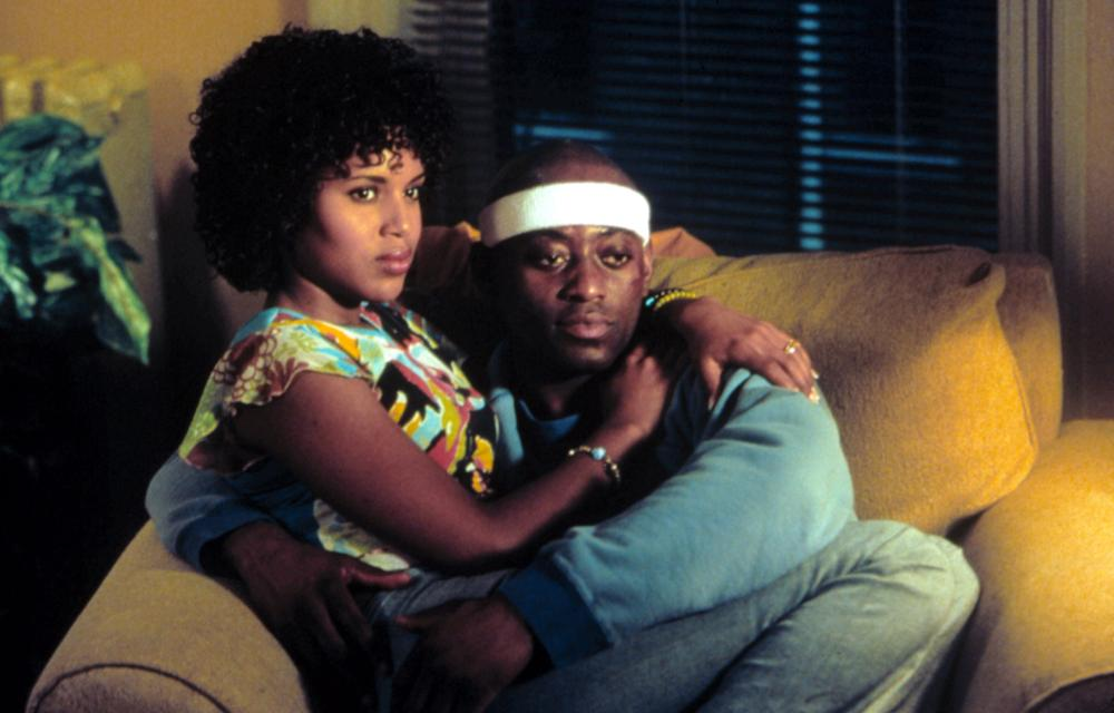 <b><i>Against the Ropes</i>, 2004:</b> In this biopic of Jackie Kallen (Meg Ryan), the first female promoter in professional boxing, Washington was cast as Renee, Kallen's best friend and—eventually—girlfriend of boxer Luther Shaw (Omar Epps).