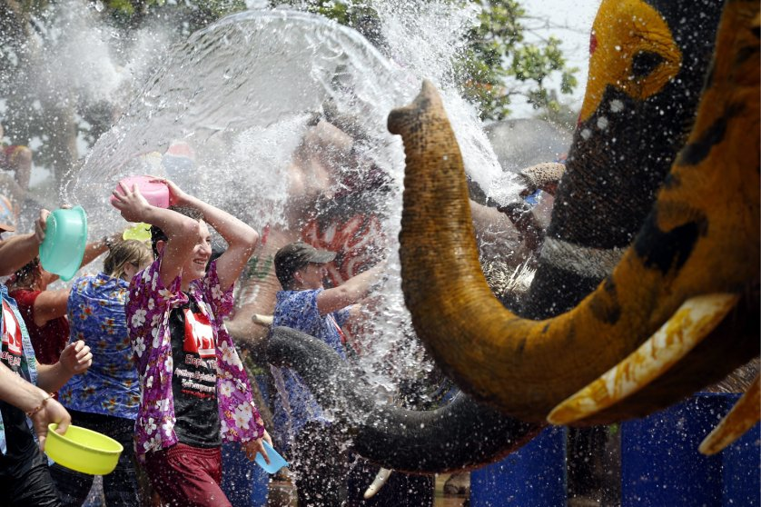 Thai elephant sprays water at tourists to celebrate Songkran festival